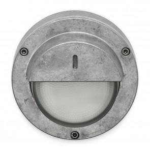 Flachleuchte Aluminium Natur mit Halbschirm
